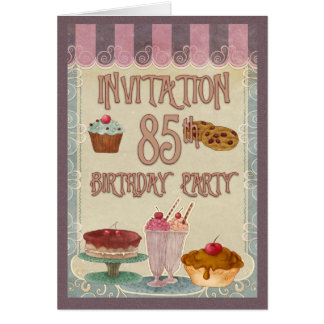 85th Birthday Party - Cakes, Cookies, Ice Cream Greeting Card