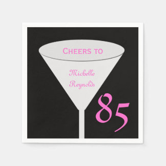 """85th Birthday Party """"Cheers To"""" Paper Napkins Standard Cocktail Napkin"""