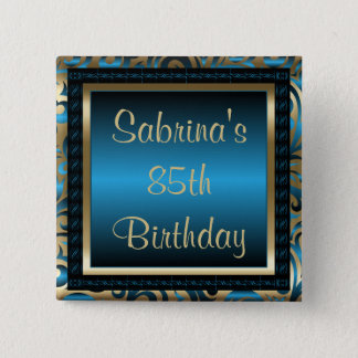 85th Birthday Party | DIY Text | Blue and Gold Button