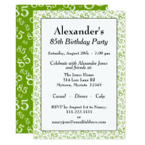 85th Birthday Party Green and White Number Pattern Invitation