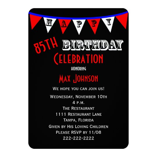 85th Birthday Party Invitation Bunting