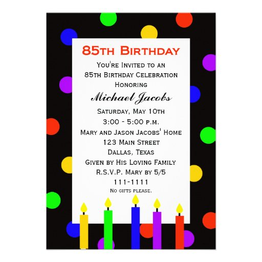 Personalized birthday template invitations custominvitations4u 85th birthday party invitation candles and dots filmwisefo Choice Image