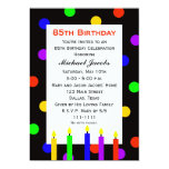 85th Birthday Party Invitation -- Candles and Dots