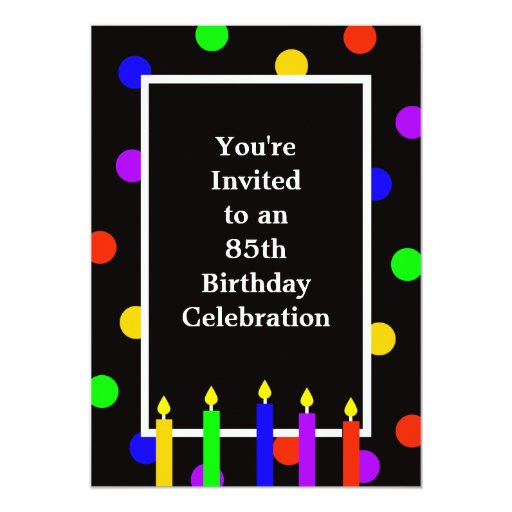 85th Birthday Party Invitation -- Colorful Candles