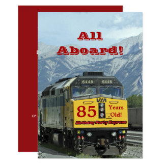 85th Birthday Party Invitation Railroad Train