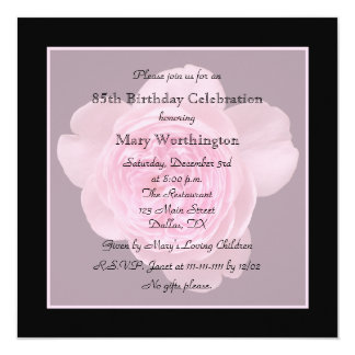 85th Birthday Party Invitation Rose for 85th