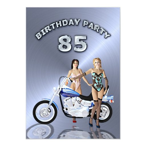 85th Birthday party Invitation with a motorbike
