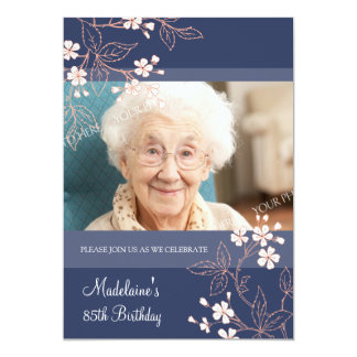 85th BIrthday Party Invitations Blue Coral Flowers