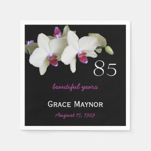 85th Birthday Party Orchid Paper Napkins