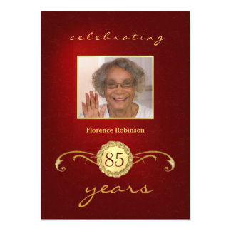 85th Birthday Party Photo Invitations - Red
