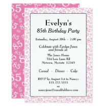 85th Birthday Party Pink and White Number Pattern Invitation