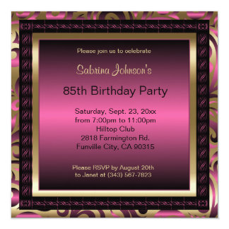 85th Birthday Party | Pink Metallic & Gold Card