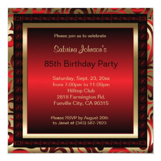 85th Birthday Party | Red Metallic & Gold Card