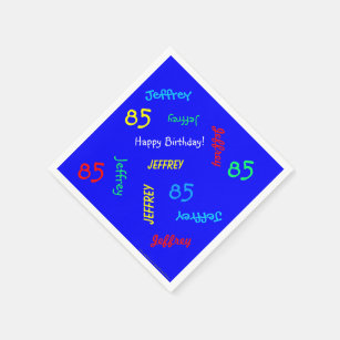 85th Birthday Party Repeating Names Blue Paper Napkin