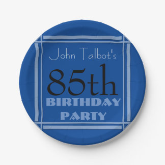 85th birthday Party Retro Frame Blue paper Plates