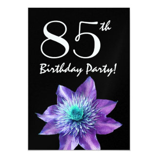 85th Birthday Party Template Purple Passion Flower 5x7 Paper Invitation Card