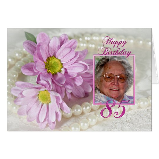 85th birthday photo card with daisies