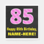 "[ Thumbnail: 85th Birthday: Pink Stripes and Hearts ""85"" + Name Napkins ]"