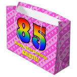 [ Thumbnail: 85th Birthday: Pink Stripes & Hearts, Rainbow # 85 Gift Bag ]
