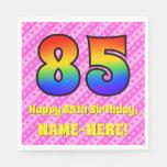 [ Thumbnail: 85th Birthday: Pink Stripes & Hearts, Rainbow # 85 Napkins ]