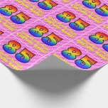 [ Thumbnail: 85th Birthday: Pink Stripes & Hearts, Rainbow # 85 Wrapping Paper ]