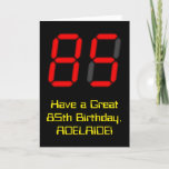 "[ Thumbnail: 85th Birthday: Red Digital Clock Style ""85"" + Name Card ]"