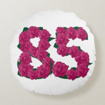 "85th birthday Round Throw Pillow (16"")"