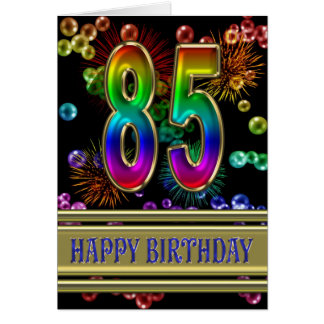 85th Birthday with rainbow bubbles and fireworks Greeting Card