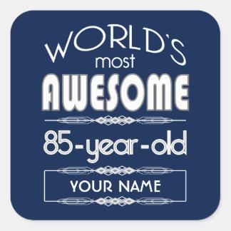 85th Birthday Worlds Best Fabulous Dark Blue Square Sticker