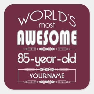 85th Birthday Worlds Best Fabulous Dark Red Square Sticker