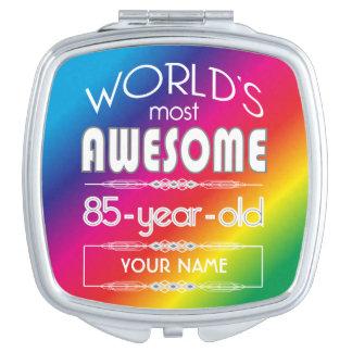 85th Birthday Worlds Best Fabulous Rainbow Makeup Mirror