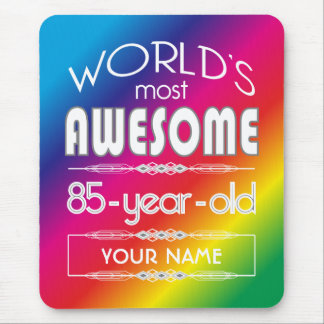 85th Birthday Worlds Best Fabulous Rainbow Mouse Pad