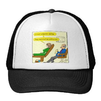 863 computer dating cartoon trucker hat