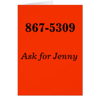 867-5309, Ask for Jenny Card