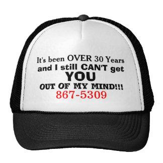 867-5309 gorra retro del humor del teléfono 80s