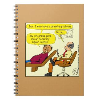 869 honorary liquor license cartoon spiral notebook
