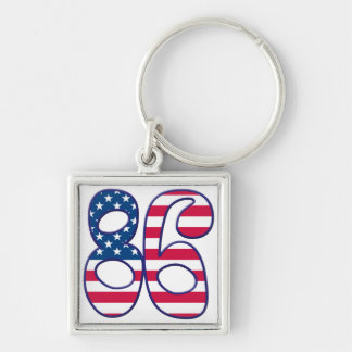 86 Age USA Silver-Colored Square Keychain