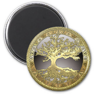 [86] Árbol de la vida céltico de oro [3D] Imán Redondo 5 Cm