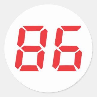 86 eighty-six red alarm clock digital number classic round sticker