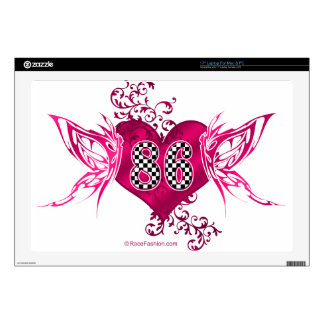 """86 racing number butterflies decals for 17"""" laptops"""