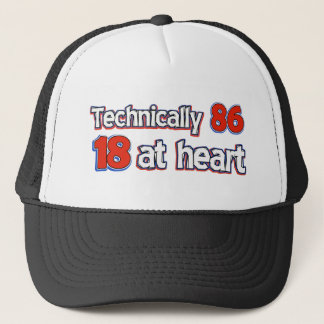 86 years design trucker hat