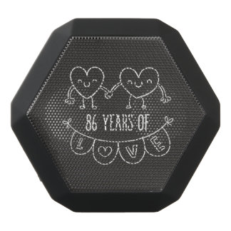 86th Anniversary Gift Chalk Hearts Black Bluetooth Speaker