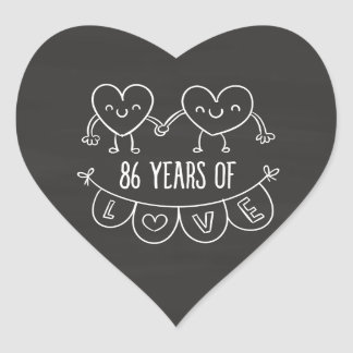 86th Anniversary Gift Chalk Hearts Heart Sticker