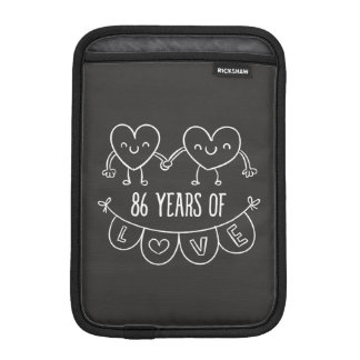 86th Anniversary Gift Chalk Hearts Sleeve For iPad Mini
