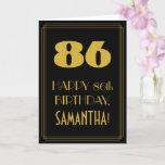"[ Thumbnail: 86th Birthday ~ Art Deco Inspired Look ""86"" & Name Card ]"