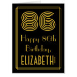 "[ Thumbnail: 86th Birthday: Art Deco Inspired Look ""86"" + Name Card ]"