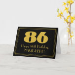 "[ Thumbnail: 86th Birthday: Art Deco Inspired Look ""86"" & Name Card ]"