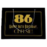 "[ Thumbnail: 86th Birthday — Art Deco Inspired Look ""86"" & Name Gift Bag ]"