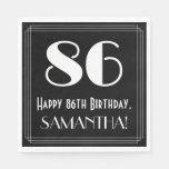 "[ Thumbnail: 86th Birthday ~ Art Deco Inspired Look ""86"", Name Napkins ]"