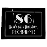 "[ Thumbnail: 86th Birthday: Art Deco Inspired Style ""86"", Name Gift Bag ]"